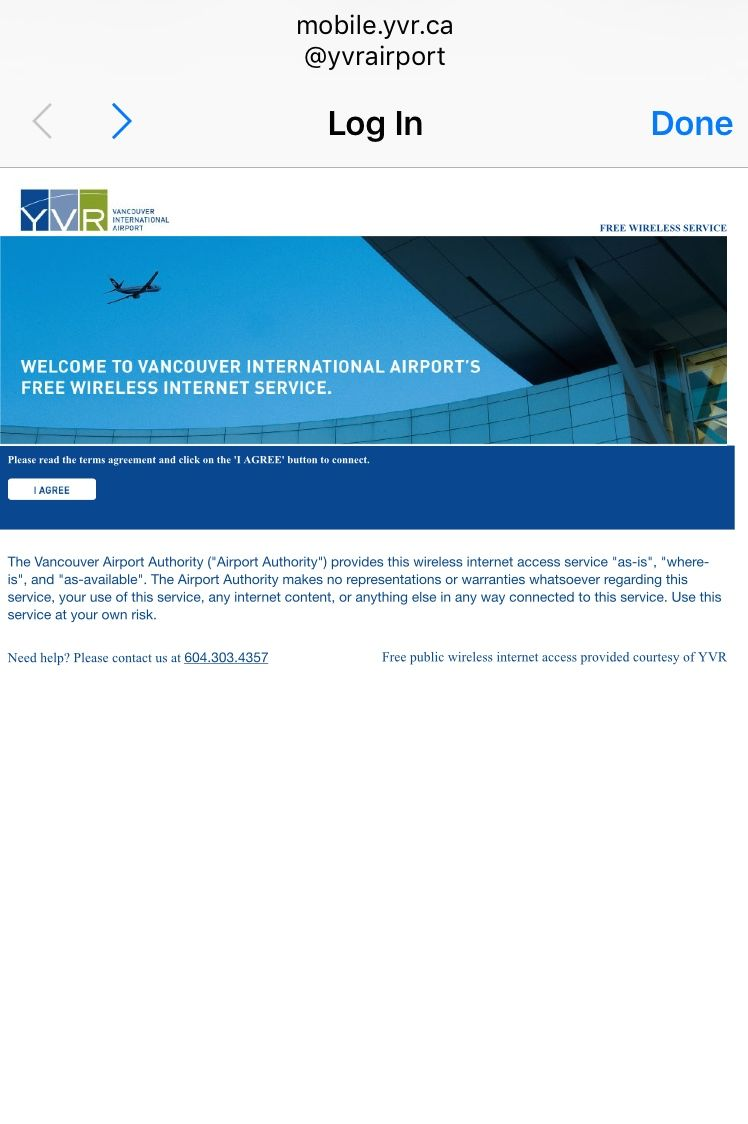 バンクーバー空港(YVR)のWiFiの接続方法
